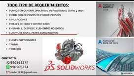 Solidworks, Civil 3D, AutoCad, entre otros
