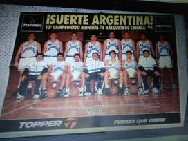 Poster lote X 2 Selección Argentina de Basquet 1993 y 1994 El Grafico