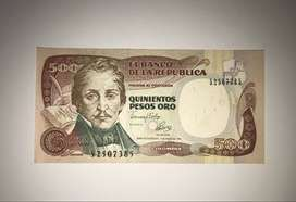 BILLETE 500 PESOS ORO 04/ENE/1993 COLOMBIA