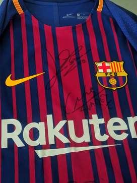 Camiseta Fc Barcelona autografiada por messi, Suárez y Coutinho futbol se aceptan ofertas
