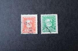 2 ESTAMPILLAS BRASIL, 1954, JOAQUÍN MARQUÉS LISBOA, USADAS