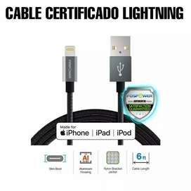 Cable certificado Lightning para iPhone, super resistente mejor que el original