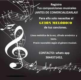 Edición de GUIÓNES MELÓDICOS para cantautores o grupos