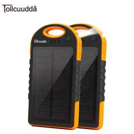 Cargador power Bank panel solar 12000ma solo negro batería externa