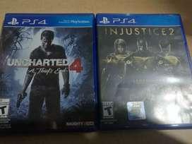 Injustice 2 y uncharter 4 PS4