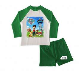 conjunto de traje de baño para niños paw patrol ideal piscina y playa