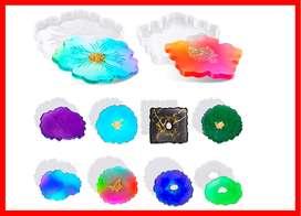 Moldes de posavasos de resina de forma irregular de silicona 10 estilos
