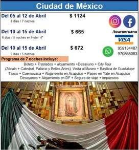 ¿Cuánto cuesta viajar a Mexico por 7 dias haciendo varios tours?