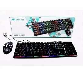 Teclado y mouse gamer cmk-188 luces cables 150 cm