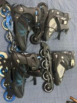 2 par de patines en linea nuevos, talla modificable con todos sus elementos de protección