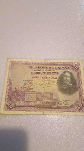 BILLETE DE 50 PESETAS DE ESPAÑA DE 1928