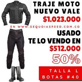 Traje Protección  Moto Usado - (Chaqueta-Pantalón-Botas)