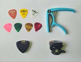 KIT Guitarra Capo PICKS Plumillas Puas Plectro Afinador Digital