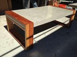 Muebles, mesas de concreto y madera
