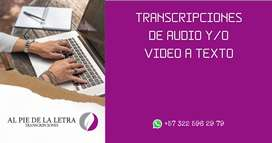 TRANSCRIPCIONES DE AUDIO A TEXTO - VIDEO A TEXTO - TEXTO A TEXTO