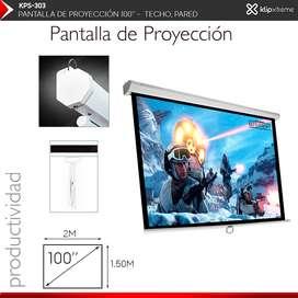 Pantalla Proyeccion Manual Klip Xtreme 100 Pulgadas TECHO Pared