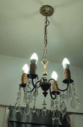 Lámpara Araña Antigua de Bronce