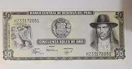 Vendo billete cincuenta soles oro peru año 1977