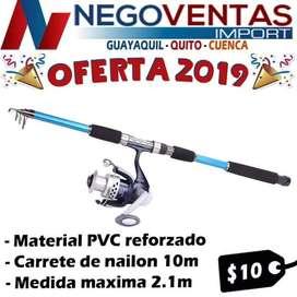 CAÑA DE PESCAR DEPORTIVA MODELO TELESCOPICA DE 2 MTS INCLUYE CARRETE