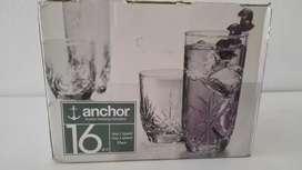 Juego de vasos marca anchor americano