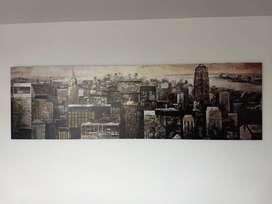 Cuadro paisaje Nueva York, litografía sobre retablo