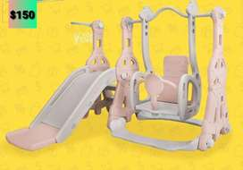 Resbaladera 2 en 1 para niña en color rosa pastel