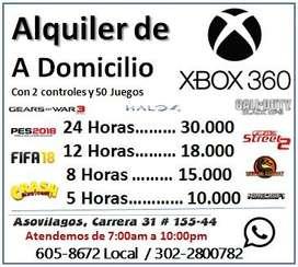 Alquiler de Xbox 360 con dos controles y 50 Juegos a Domicilio