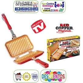Parrilla Sanduchera Tv Red Cooper Antiadherente Para Estufa, Nuevos, Originales, Garantizados..