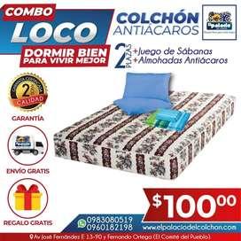 **PROMOCIONES !!! Colchon Antiacaros 2 Plazas MAS Sabanas MAS 2 Almohadas MAS ENVIÓ X 99.90 !!! LLAME 0983080519 !!!