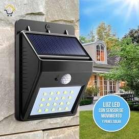 lámpara luz LED exterior sensor movimiento panel solar