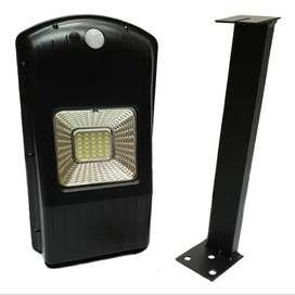 lámpara solar con panel 100% sensor de movimiento y soporte 30w de potencia