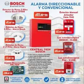 ALARMA DE INCENDIO BOSCH MIRCOM DSC SENSORES DE GAS DETECTOR DE HUMO