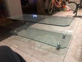 Mesa de centro crystal curva