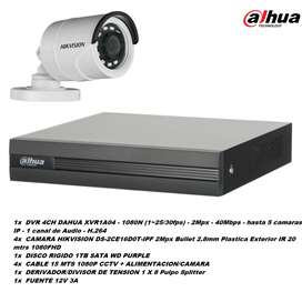 Kit Seguridad DAHUA HIKVISION DVR 4 CAMARAS COMBO