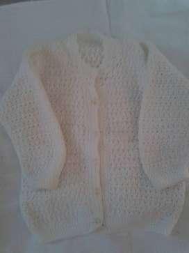 saco tejido crochet bareta  blanco 6m