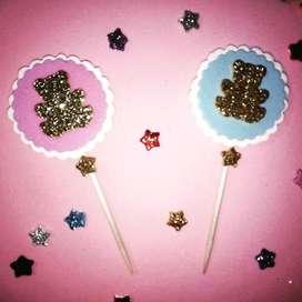 Topper Cupcake Temáticos 25 Unidades