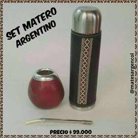 SET MATERO ARGENTINO! MATE CALABAZA con BOMBILLA ACERO y TERMO FORRADO ACERO !