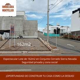 Lote oferta 162 m2 en Conjunto cerrado Sierra Nevada