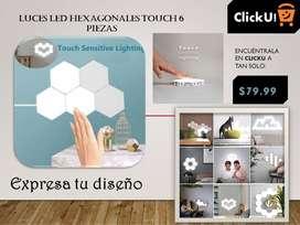 Lámpara de pared hexagonal modular touch, montaje creativo de geometría, luz LED nocturna