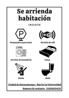 Apartaestudios, habitaciones, cupos Barrio La Universidad, Bucaramanga, parqueadero moto, WIFI, servicio de lavandería
