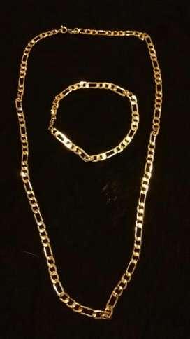 Cadena Pulsera Oro 14kgp Hombre