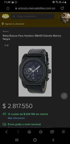Reloj Original Bulova estrella marina negra ref98b151
