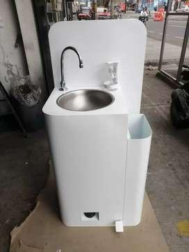 Lavamanos portátil con papelera y dispensador