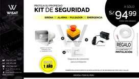 Kit De Seguridad Sirena Pulsador Pánico Sensor cableado