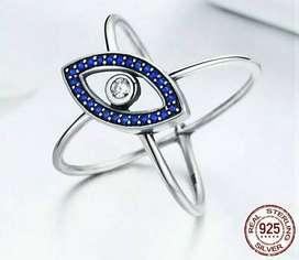Anillo Plata 925 Ojo Azul Geométrico Con Zircones Mujer