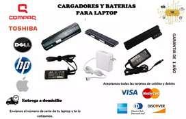 Cargadores y baterias de laptop DELL HP TOSHIBA MAC