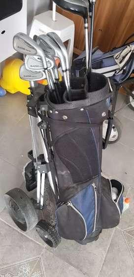 Vendo juego de golf con carro y bolso