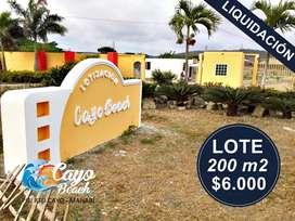 Lotes de 200m2(10m x 20m) Por Liquidación, Solo de Contado, Lotización Cayo Beach, A 1 Hora de Manta,S1
