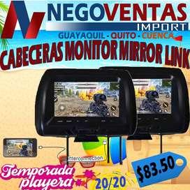 CABECERAS MONITORAS DE 7 PULGADAS CON MIRROR LINK Y REPRODUCTOR USB PARA CARROS $83,50
