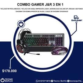 COMBO GAMER 3 EN 1  TECLADO + MAUSE + DIADEMAS  GAMER 3 EN 1 J y R